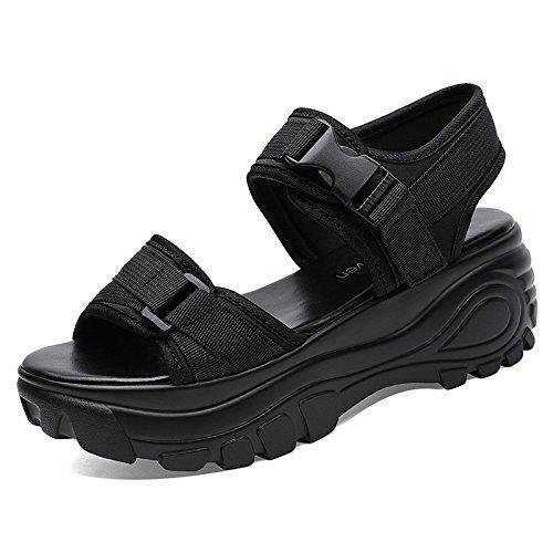 sandalias verano Sandalias sandalias UE de RUGAI para con black inferior grueso ctgWSR