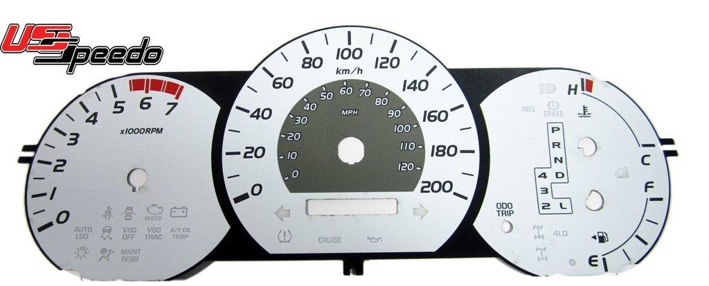 US Speedo TAC060 - Daytona Edition Gauge Faces - White/Amber Night - MPH, Auto - for: Toyota Toyota Tacoma