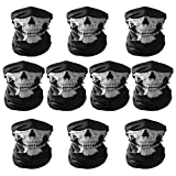 AVOLUTION 10 PCS Unisex Skull Pattern Seamless Outdoor Cycling Face Masks Black
