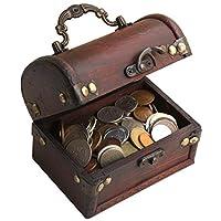 IMPACTO Pièces de Monnaie de Collection - 1 kg de Monnaies + Coffre de Bois