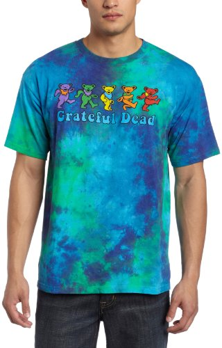 Dead Grateful Dye Tie - Liquid Blue Men's Grateful Dead Dancing Bear T-Shirt, Multi, Large