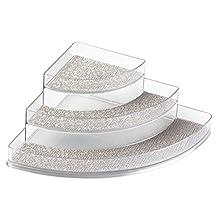 InterDesign Twillo Spice Rack, Corner Organizer for Kitchen Pantry, Cabinet, Countertops - Metallico/Clear