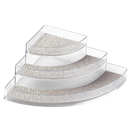 InterDesign Twillo Spice Rack, Corner Organizer for Kitchen Pantry, Cabinet, Countertops - Metallico/Clear
