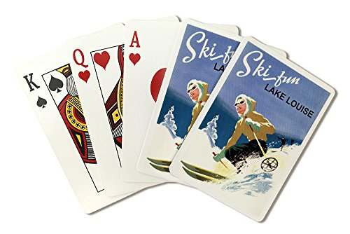 Ski Fun Lake Louise - Vintage Skier (Playing Card Deck - 52 Card Poker Size with Jokers) (Park Fun Ski)