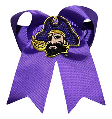 Divine Creations NCAA East Carolina Pirates Cheer Bow, One Size, Purple/Yellow Gold