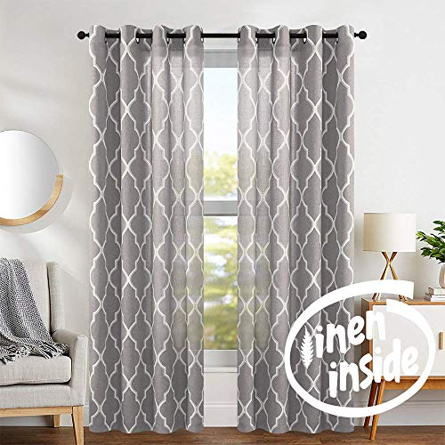 "jinchan Moroccan Tile Design Linen Curtain Textured Lattice Grommet Top Window Panels Drapes for Bedroom Living Room Window Patio Door Set of 2 Panels 95"" L Charcoal Grey"