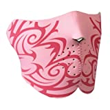 Hot Leathers Bikers Full Protection HALF MASK LADIES PINK TRIBAL NEOPRENE FACE MASK, with Velcro Back Closure