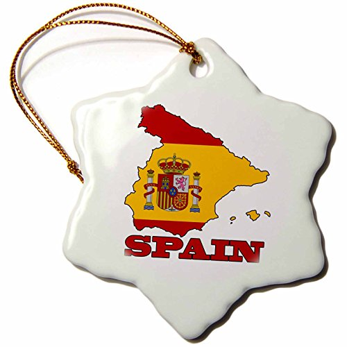 3dRose orn_63206_1 The Flag of Spain in The Outline Map of The Country and Name Spain Snowflake Decorative Hanging Ornament, Porcelain, 3-Inch by 3dRose