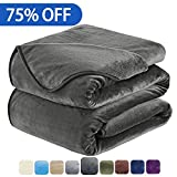 #3: Soft Blanket King Size Fleece Warm Fuzzy Throw Blankets For The Bed Sofa Lightweight 350GSM HOZY Dark Grey 90