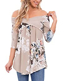 Womens Casual Off Shoulder Drape Floral Print 3 4 Sleeve...