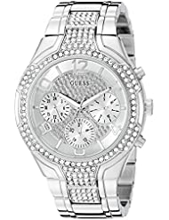 GUESS Womens U0628L1 Sporty Silver-Tone Watch with Silver Dial , Crystal-Accented Bezel and Stainless Steel Pilot...