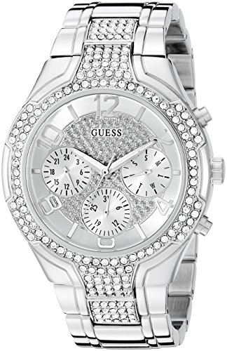 GUESS U0628L1 Silver Tone Crystal Accented Stainless