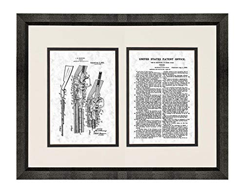 FN Trombone Pump Action .22 Caliber Repeater Patent Art Gunmetal Print in a Beveled Black Wood Frame with a Double Mat (16
