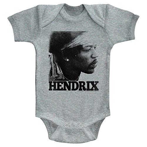 Jimi Hendrix - Unisex-Baby Vintage Face Onesie, Size: 0-6M, Color: Gray Heather