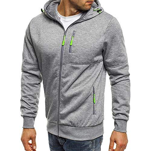 (Teresamoon Men's Autum Winter Long Sleeve Zipper Patchwork Hooded Sweatshirt Cardigan Tops)
