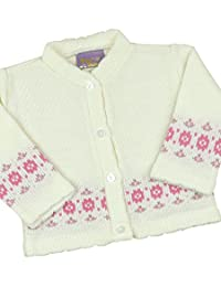 BabyPrem Baby Cardigan Jacket Girl Pink Flower Soft Knitted 0 - 12 Months