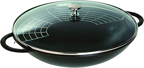 STAUB Wok, Hierro Fundido y Cristal, Negro Mate, 37 cm