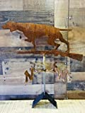 Hand Crafted RUSTIC HUNTING DOG WITH GUN WEATHERVANE Rusty Finish - Outdoors House or Outside Yard Accent