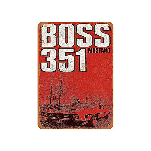 Fhdang Decor Vintage Pattern 1971 Ford Mustang Boss 351 Vintage Look Aluminum Sign Metal Sign,8x12 Inches
