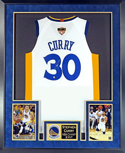 Golden State Warriors Stephen Curry Autographed Home White Jersey (Deluxe Patch) Framed