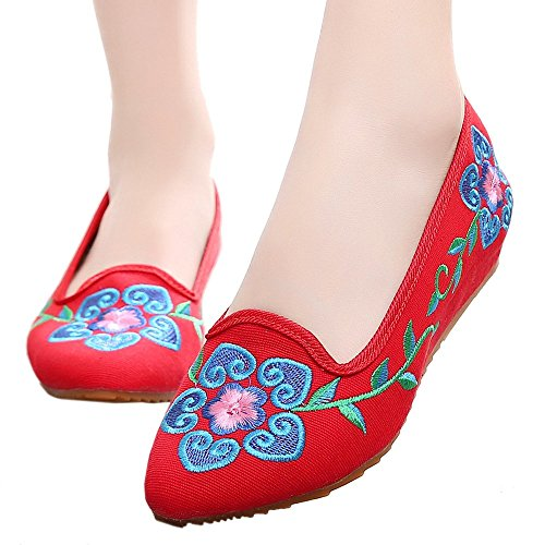 5 Flower Embroidered Shoes Beijing Cloth red Old 39 Petal qwFI7n4