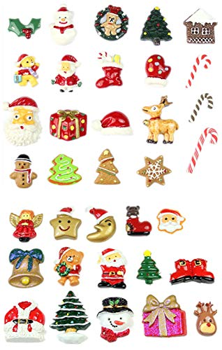 50 Pack Christmas Slime Charms Slices Resin Saint Santa Snowman Tree Bell Deer Suits Candy Cane Flatback Beads for Handcraft Christmas Indoor Outdoor Decoration