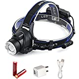 LED Headlamp 6000 Lumen, T6 3 Modes Zoomable Headlight with 18650 Rechargeable Battery ,Adjustable Strap Waterproof Powered Flashlight for Camping Running Hiking Reading