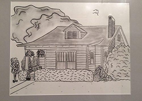 8x10 Custom Drawing with 11x14 Gray Mat by Welcome Homes Art