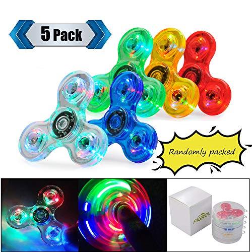 FIGROL LED Fidget Spinner, Clear Fidget Toy, Crystal Led Light Rainbow Toy Finger Hand Spinner-Kids(5 Pack) -
