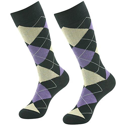 Crew Dress Socks, SUTTOS Mens Womens Unisex Adult Crazy Wonder Funky Colorful Purple Black Argyle Nordic Striped Art Patterned Casual Sock Wedding Groomsmen Gift Socks Deal Socks,2 (Nordic Mens Socks)