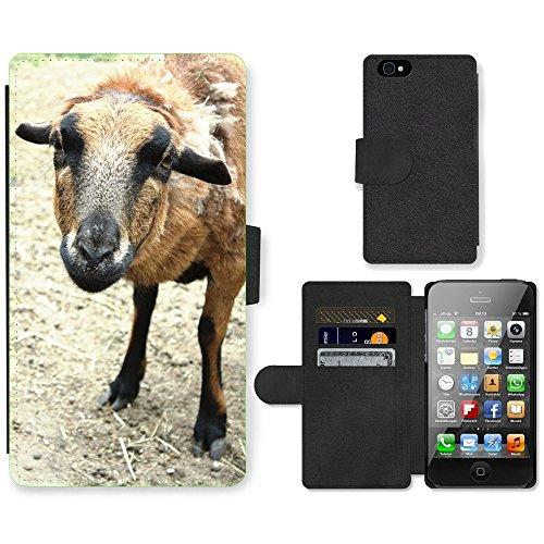 Just Phone Cases PU Leather Flip Custodia Protettiva Case Cover per // M00127424 Laine de mouton pour les animaux de // Apple iPhone 4 4S 4G