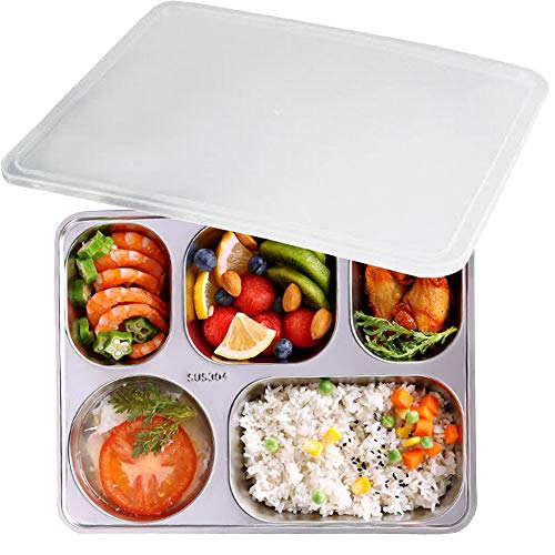 (AIYoo 304 Stainless Steel Divided Plates with Lid for Adults Divided Dinner Tray 5 sections Bento Lunch Box Divided Food Containers)
