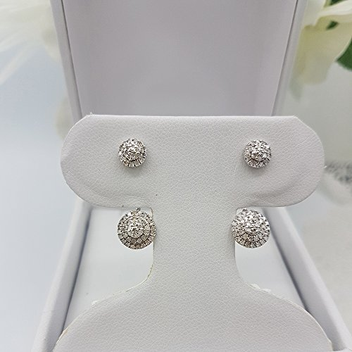 0.55 Carat (ctw) Sterling Silver Round White Diamond Ladies Stud Earrings Jackets Set 1/2 CT by DazzlingRock Collection (Image #4)