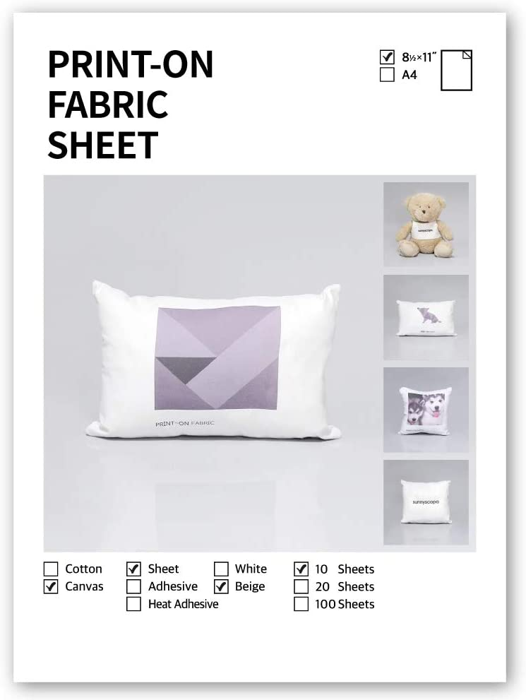 """Printable Colorfast Fabric Sheets for inkjet printer by Sunnyscopa - CANVAS, SEW-IN, BEIGE, US LETTER SIZE 8.5""""x11"""", 10 SHEETS"""