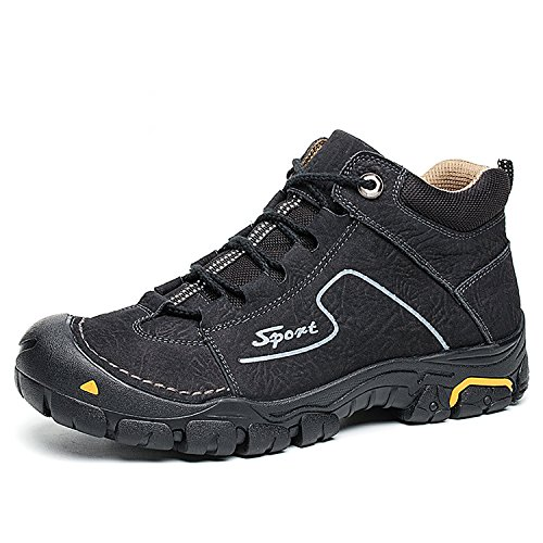 2 Ring Creeper Sneaker (RAINSTAR Men's Cowskin Outdoor Trekking Hiking Shoe Warm Lining Walking Sneaker Black 7.5)