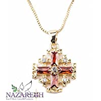 Amazing Red Garnet With Zircons Gold Plated Jerusalem Cross Pendant Necklace Holy Land