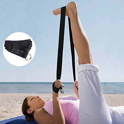 SAYFUT Yoga Strap - Best For Stretching Durable Cotton With Metal D-Ring Black