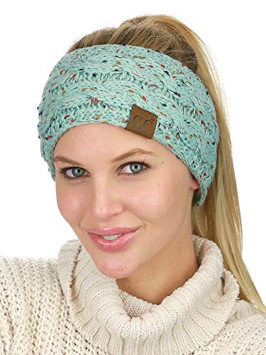 C.C Soft Stretch Winter Warm Cable Knit Fuzzy Lined Ear Warmer Headband, Confetti Mint