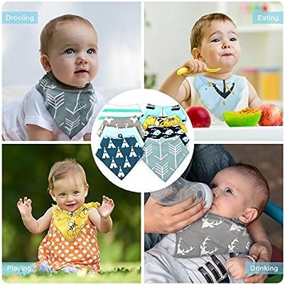 Baberos Bebe Baberos Bandanas LENBEST, Baberos Bandana, Bebé Babero Bandana - 8pcs, para recién Nacidos Bebé y Niños, 100% Algodón Orgánico