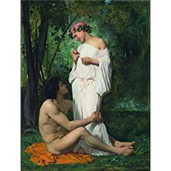 High Quality Polyster Canvas ,the High Definition Art Decorative Prints On Canvas Of Oil Painting 'Adolphe William Bouguereau,Idylle,1851', 12x16 Inch / 30x40 Cm Is Best For Gym Artwork And Home Artwork And Gifts