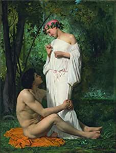 The Linen Canvas of oil painting 'Adolphe William Bouguereau,Idylle,1851' ,size: 8x11 inch / 20x27 cm ,this High Definition Art Decorative Canvas Prints is fit for Home Office artwork and Home gallery art and Gifts