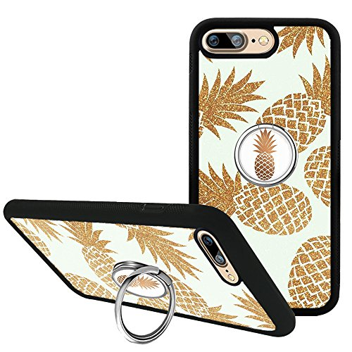 iPhone 7 Plus Case, Golden Pineapple iPhone 8 Plus Case with Phone Grip Kickstand, Finger Ring Holder TPU Bumper Silicone Protective Case Cover for iPhone 7 Plus/8 Plus 5.5 inch