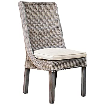 Panama Jack Sunrooms PJS-3001-KBU-SC Exuma Side Chair with Cushion, Light Beige