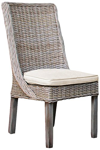Panama Jack Sunrooms PJS-3001-KBU-SC Exuma Side Chair with Cushion, Light Beige (Chairs Sunroom)