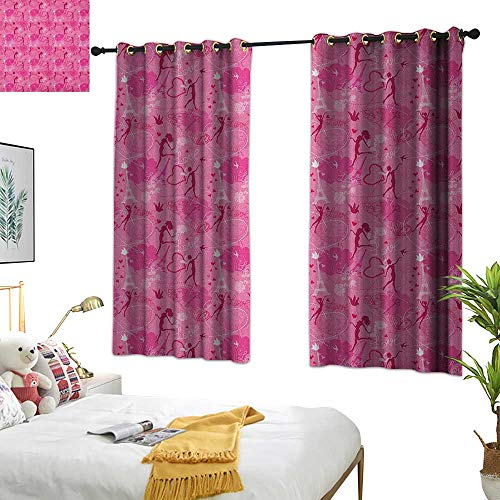 (Yellow Curtains Paris,Flying Elves Eros Love Town Center of Romance Magic City Valentines Day Concept, Magenta Fuchsia 54