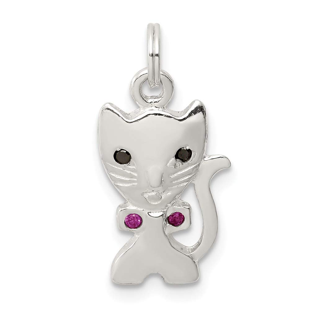 20mm x 10mm Mia Diamonds 925 Sterling Silver Solid Enameled Cat Charm