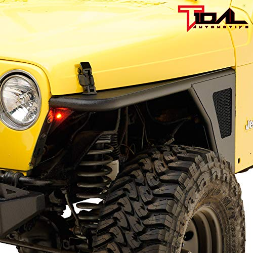 Tidal Tubular Front Fender Flare Rocker Guard with Eagle Light for 97-06 Jeep TJ Wrangler