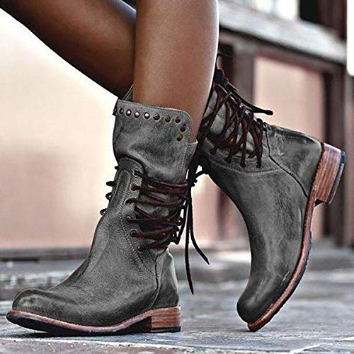 2019 Hot saleWomen Motorcycle Boots Retro Rivet Lace Up Chunky Heel Leather Cowboy Boots Lace Up Mid Calf Boots Punk Military Boots Plus Size 34-43(Grey,6.5)