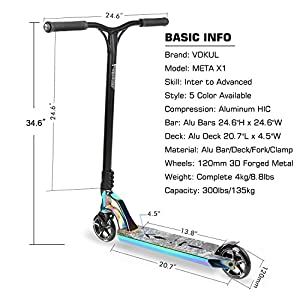 VOKUL X1 Complete Pro Scooter for Inter and Advanced Rider - Freestyle Trick Pro Stunt Scooter with Aluminum Bar/Deck/Fork and 120mm 3D Wheels for Kids,Teenagers,Adults Proffesional Scooter Rider by Vokul