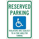 NMC TMS325G, 18''x12'' Standard Aluminum Reserved Parking Violators are Subject to a Fine and/or Towing Sign, Pack of 15 pcs